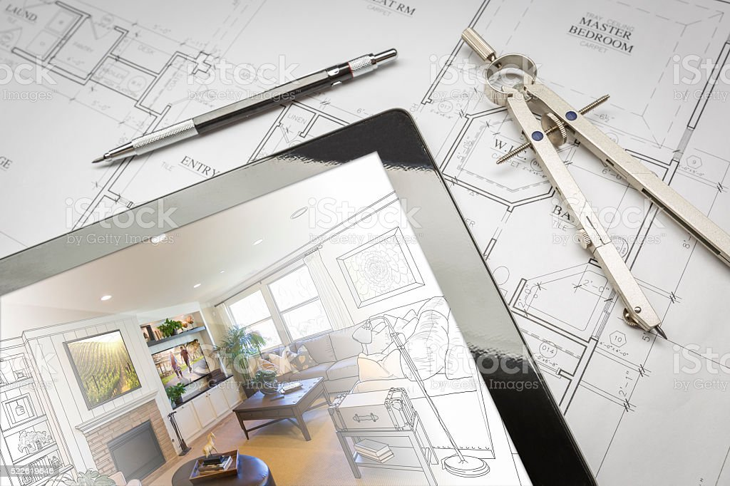 Computer Tablet Showing Room Illustration On House Plans, Pencil stock photo