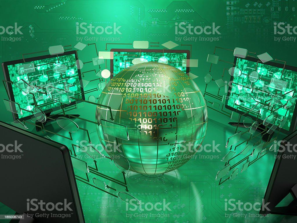 Computer technology (green) royalty-free stock photo