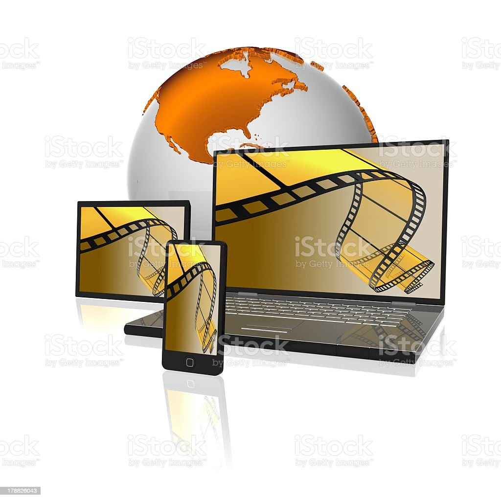 Computer technology with movie screens royalty-free stock photo