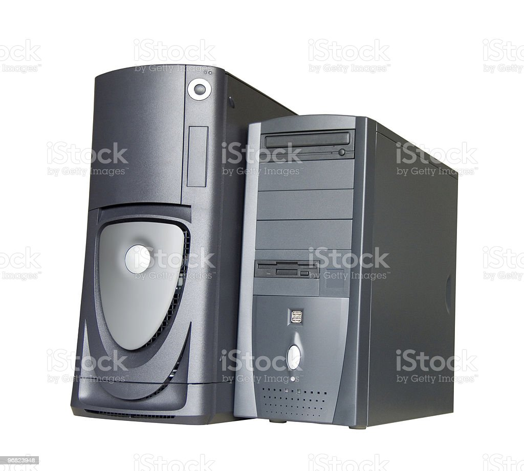 Computer towers stock photo