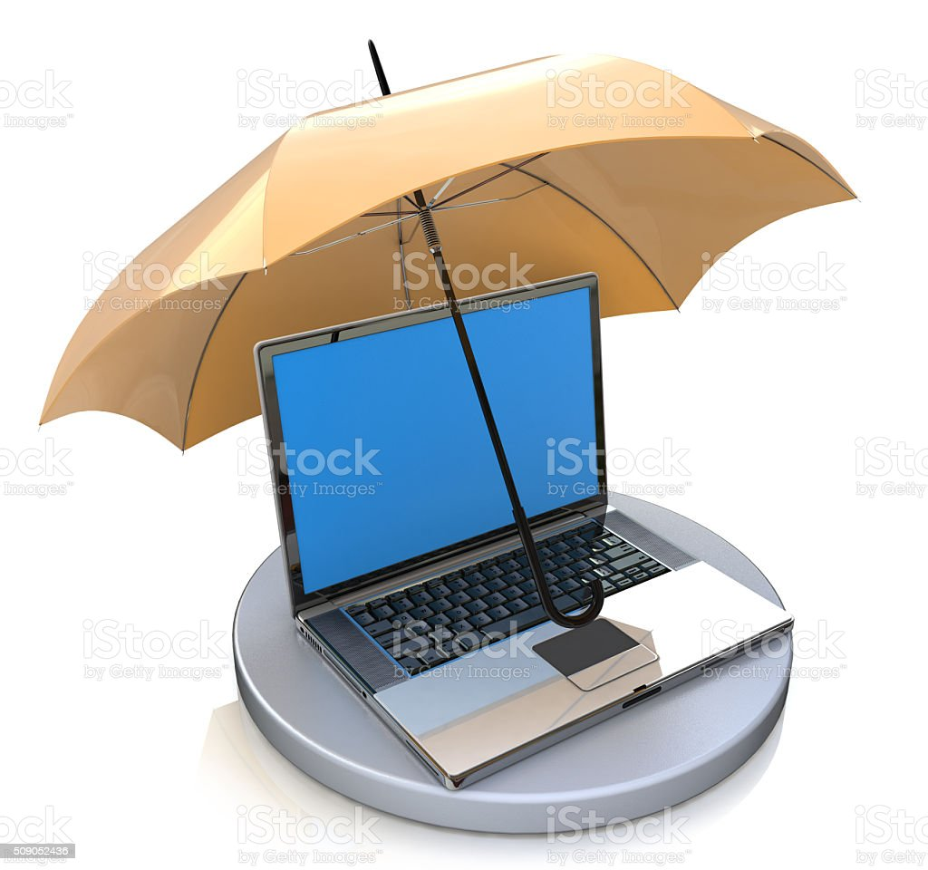 Computer under protection of umbrella. Informational security co stock photo