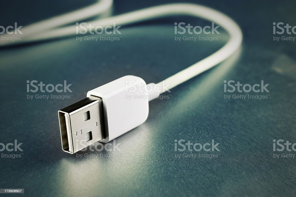 Computer USB Cable Plug Detail Effect royalty-free stock photo