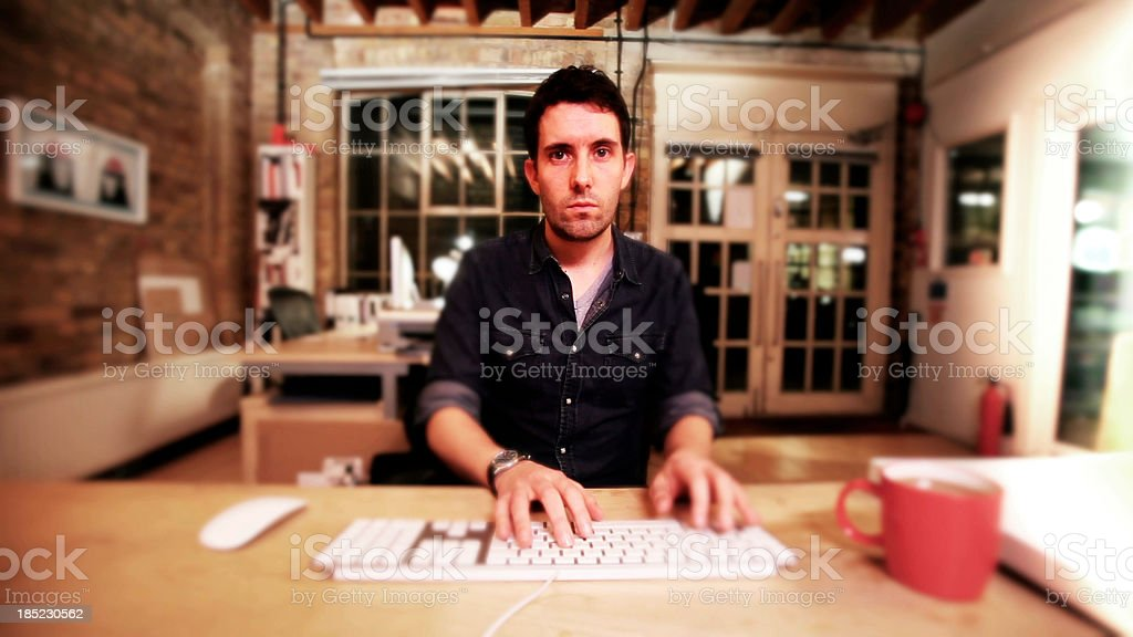 computer user at desk royalty-free stock photo