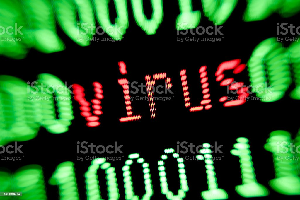 computer virus alert warning on monitor screen green and red royalty-free stock photo