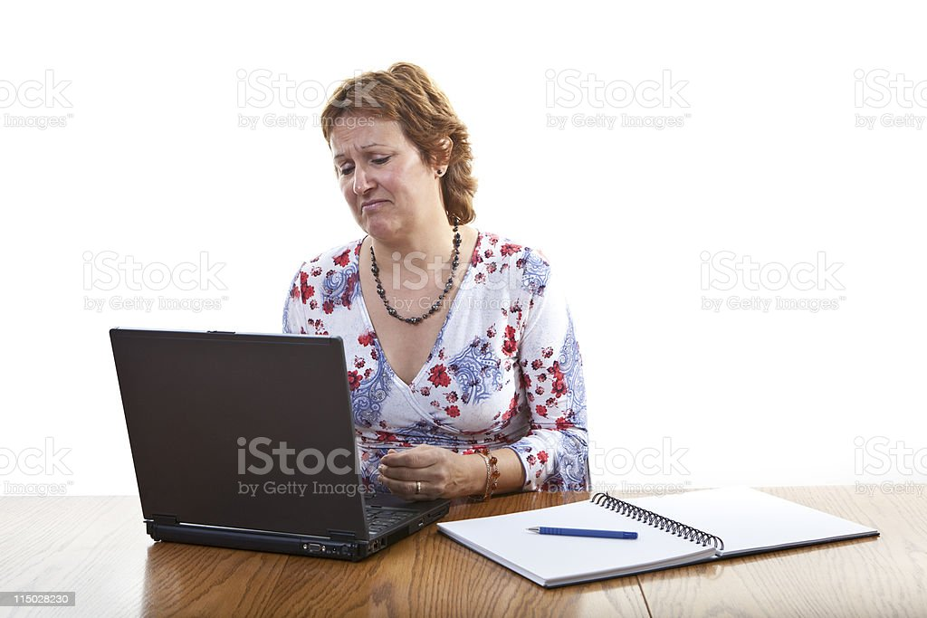 Computer virus bug crash business woman working on laptop royalty-free stock photo