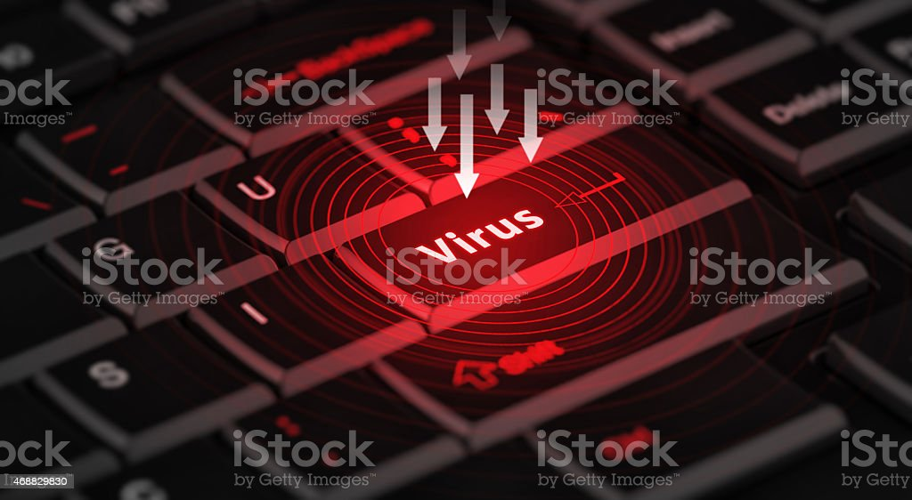 computer virus from internet, with message on enter key of stock photo