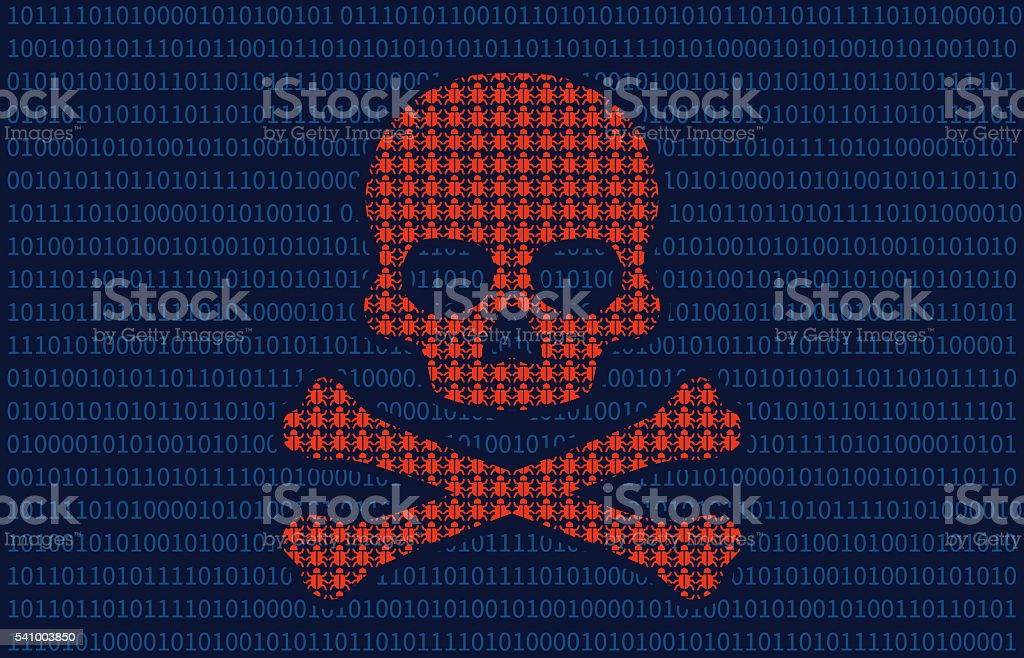 Computer virus infection skull of death flat illustration for websites stock photo