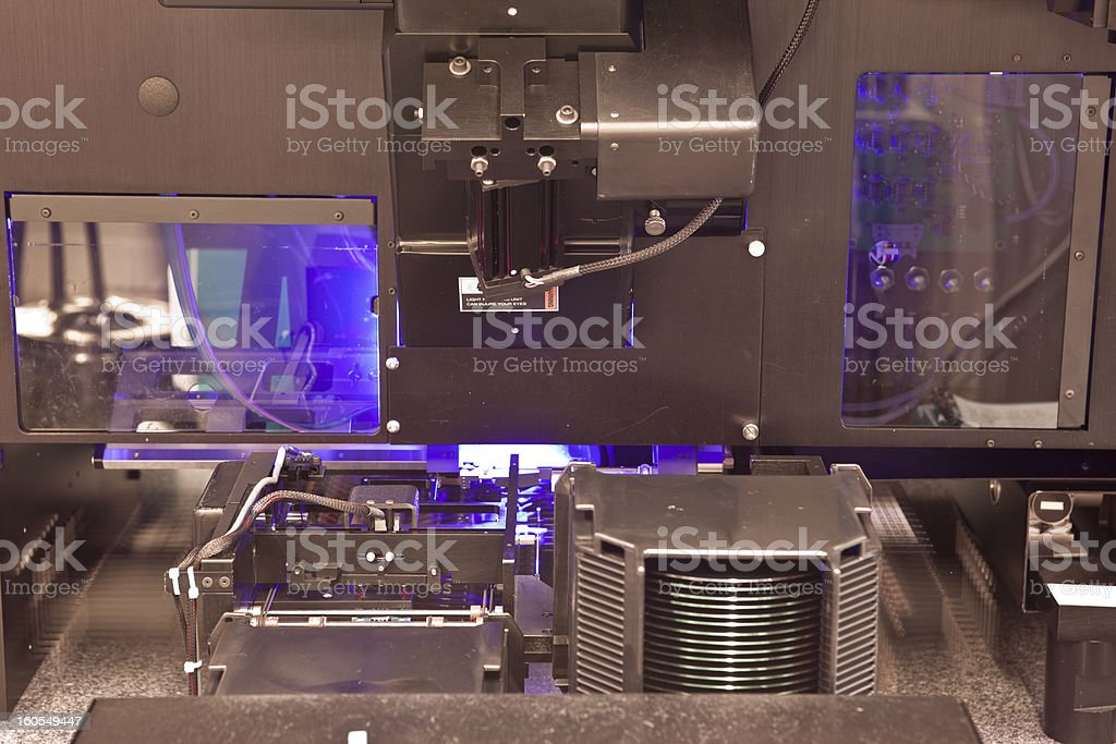 Computer wafer production machinery stock photo