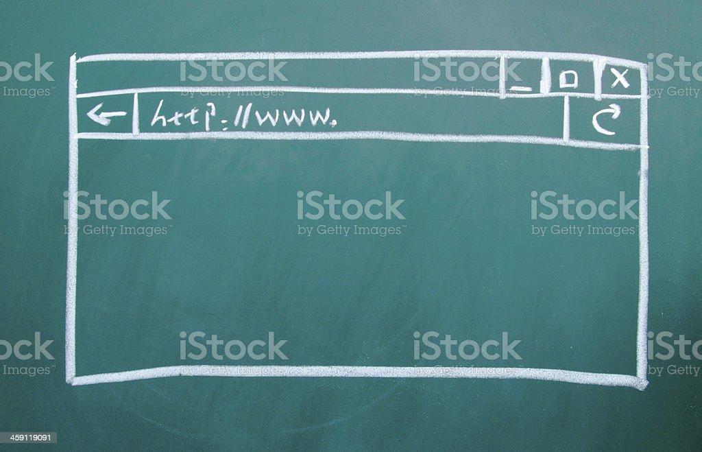 Computer window drawing on the blackboard stock photo