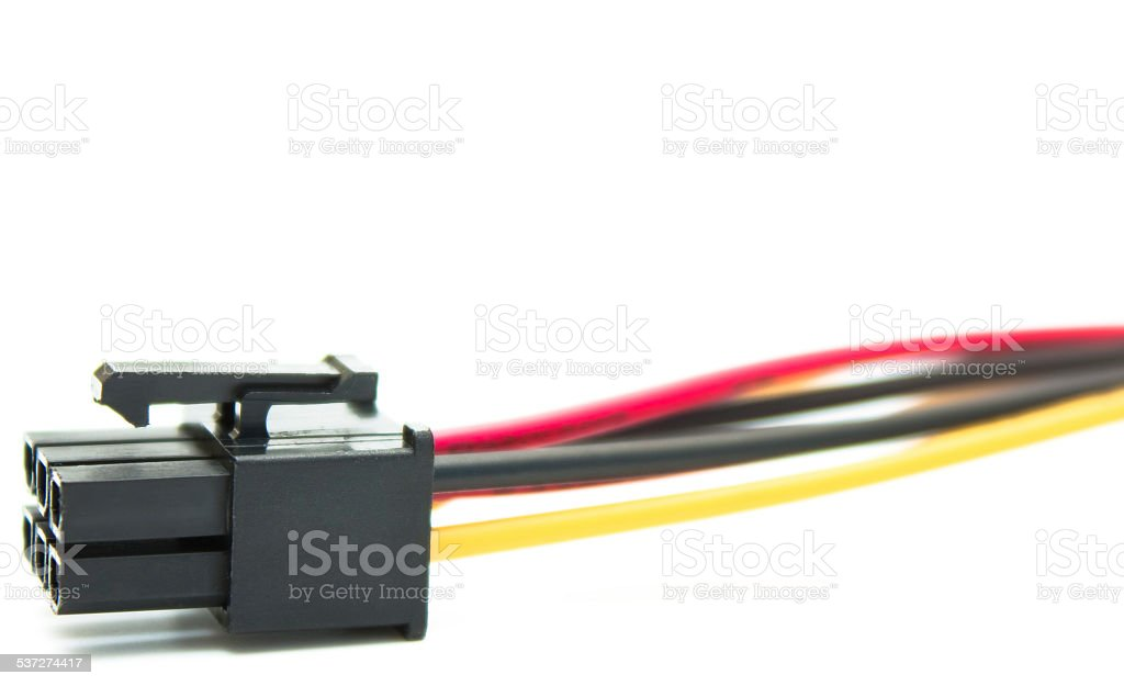Computer wires with connector copy space stock photo