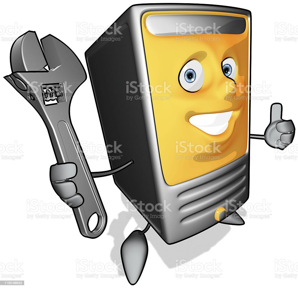 Computer with a wrench stock photo