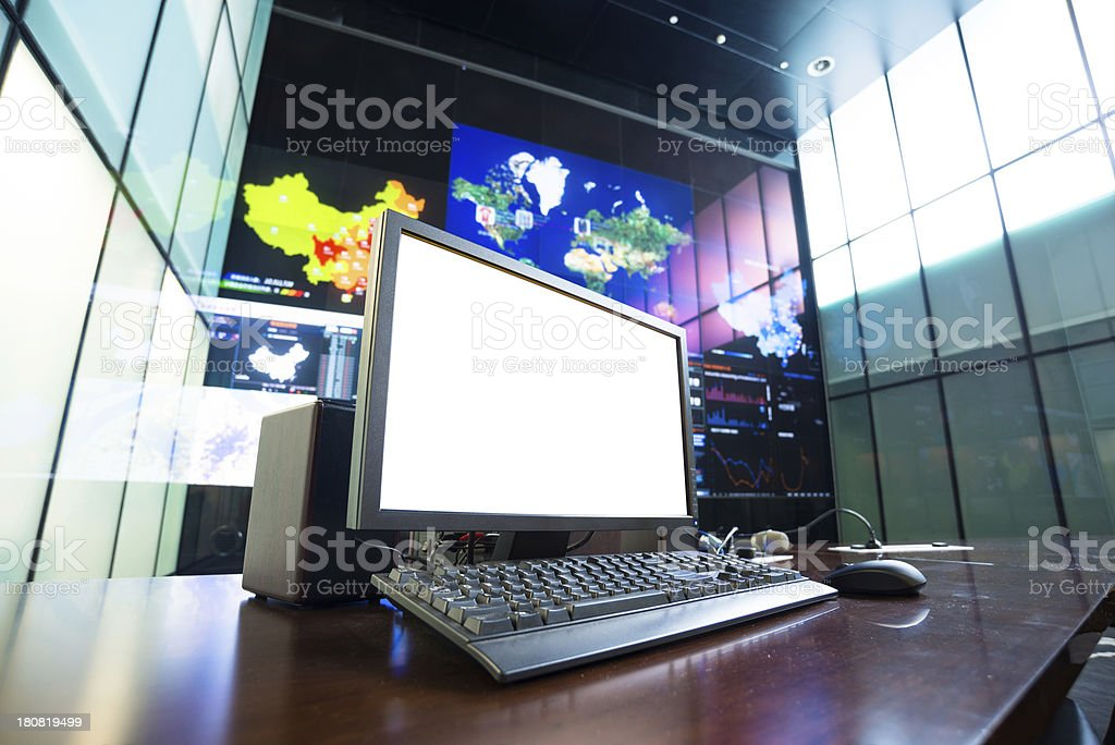 computer with blank screen in data center stock photo