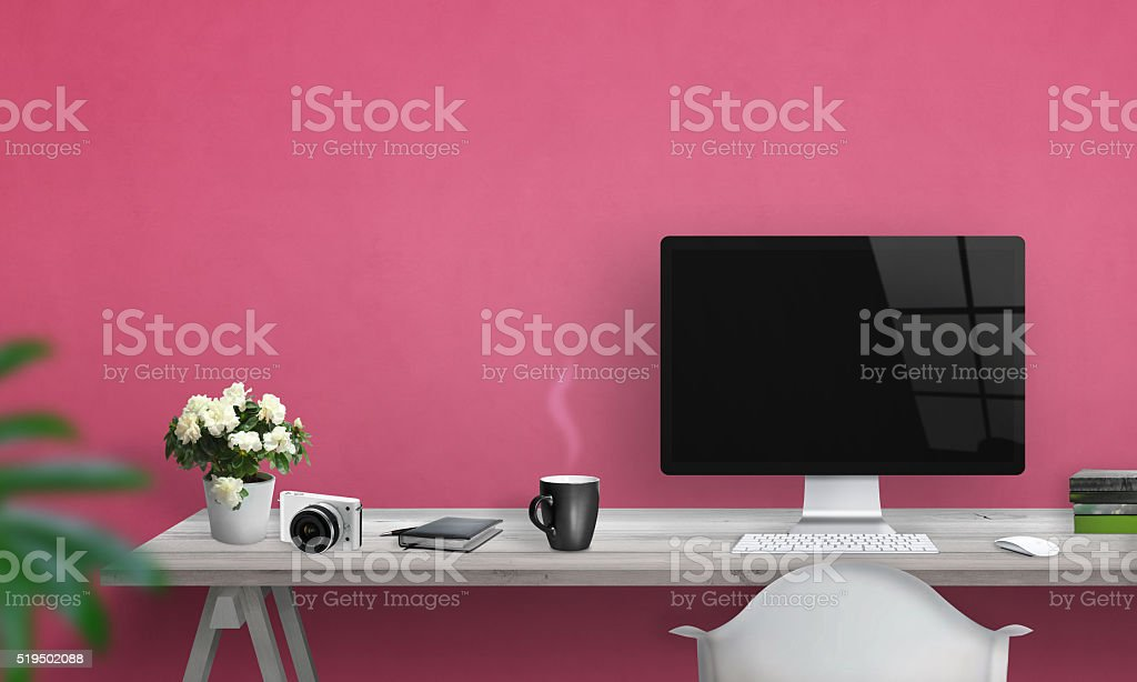 Computer with blank screen on office desk. Free space stock photo