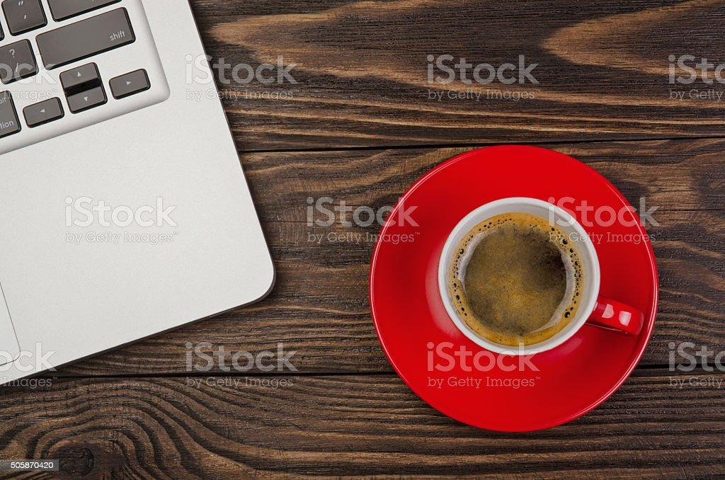 Computer with Cup Coffee stock photo