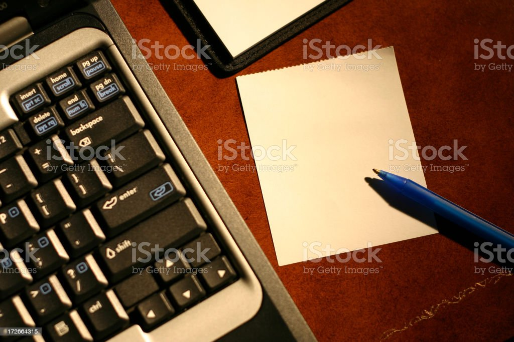 Computer with notepad for text stock photo