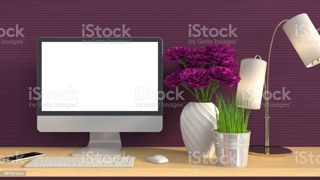 computer with white screen on office table. 3D illustration stock photo