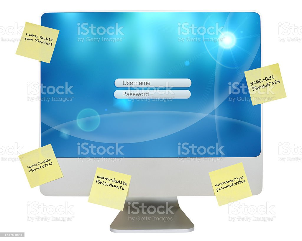 Computer with yellow notes for user names and passwords stock photo