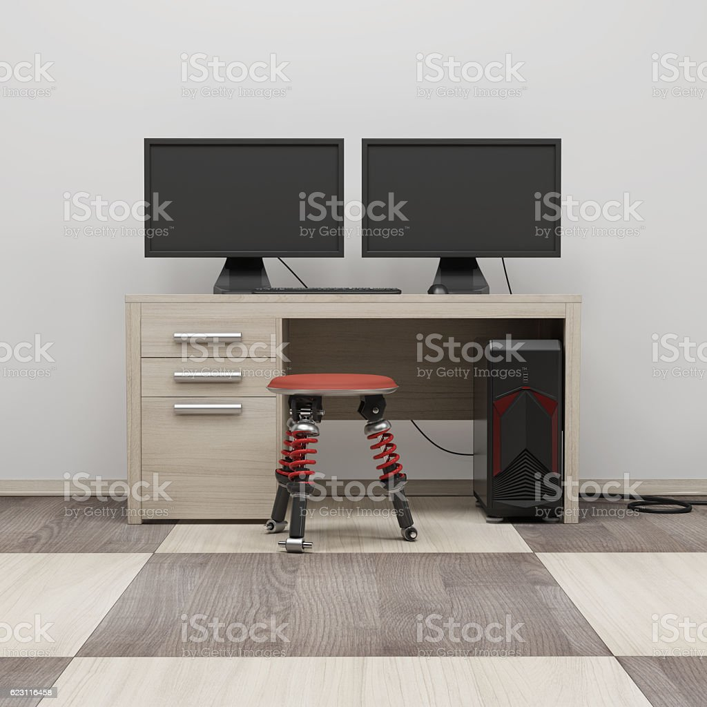 Computer workstation 3d render stock photo