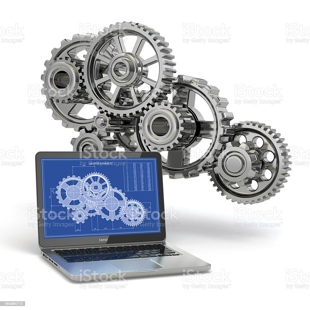 Computer-design engineering. Laptop,  gear  and draft. royalty-free stock photo