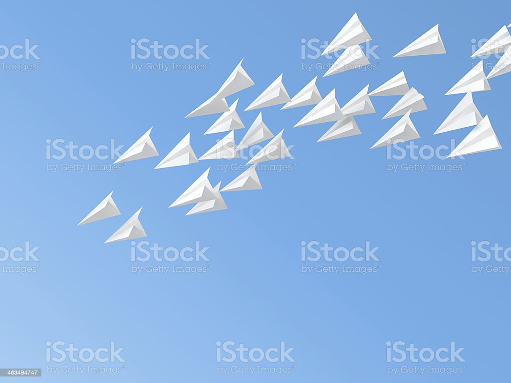 Computer-generated image of paper planes flying stock photo