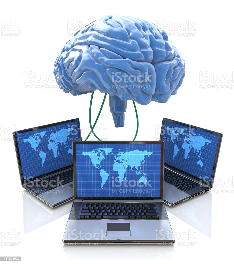 Computers connected to central brain, concept for distributed co stock photo