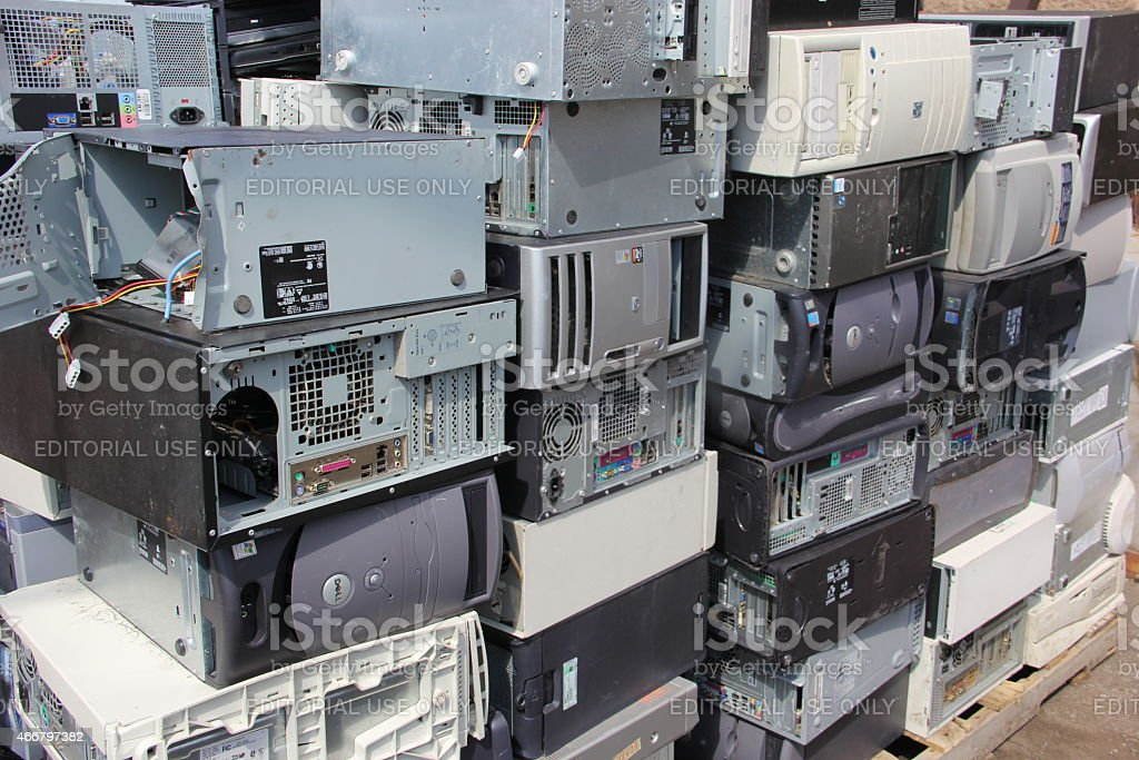computers for recycling stock photo