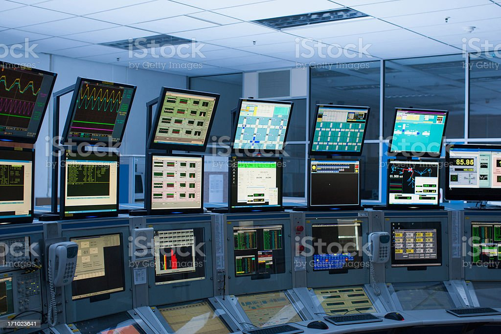 Computers in control room royalty-free stock photo