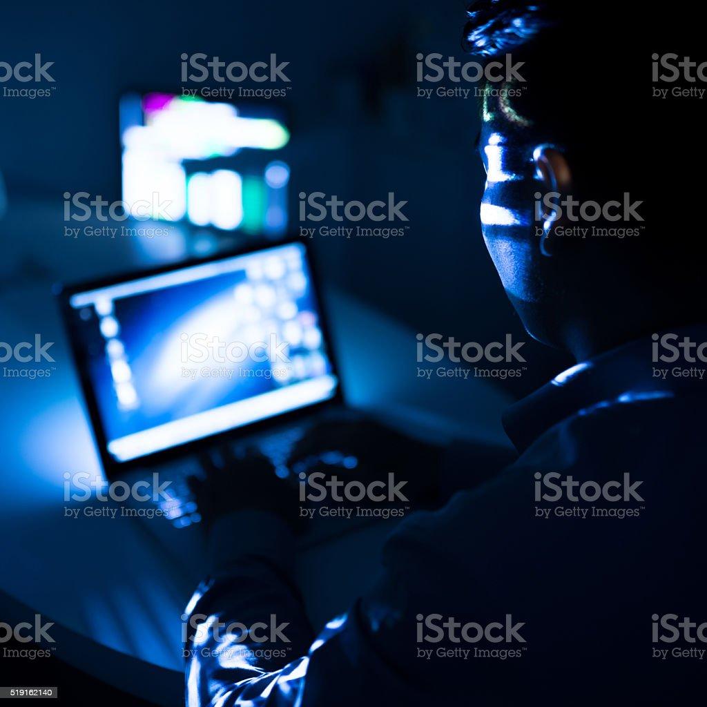 Computing at night stock photo