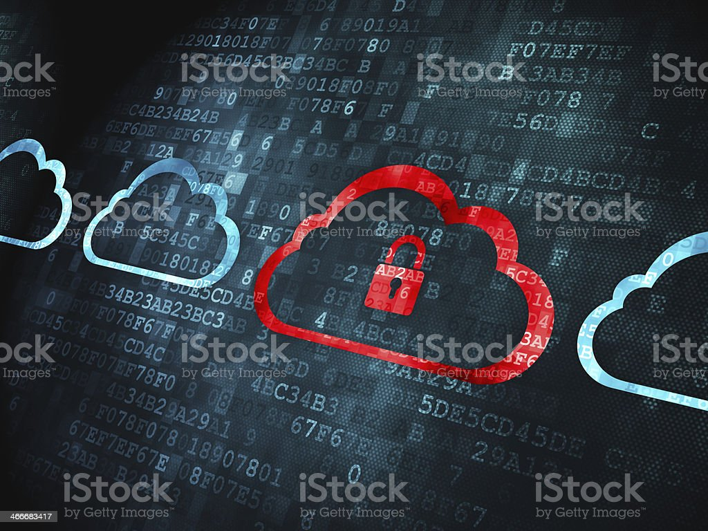 Computing concept: Cloud With Padlock on digital background stock photo