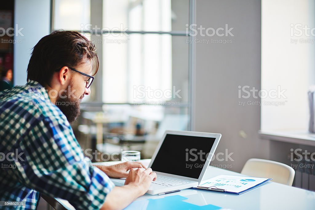 Computing in office stock photo
