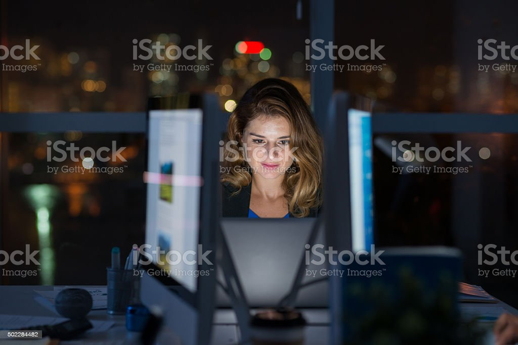 Computing late at night stock photo