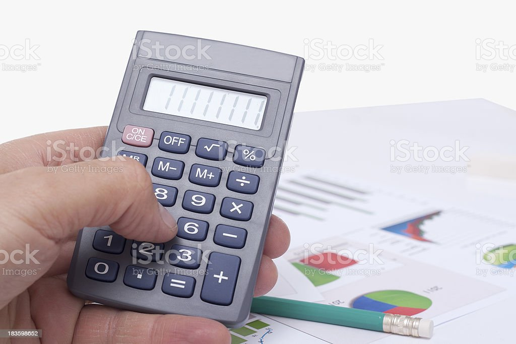computing on the calculator royalty-free stock photo