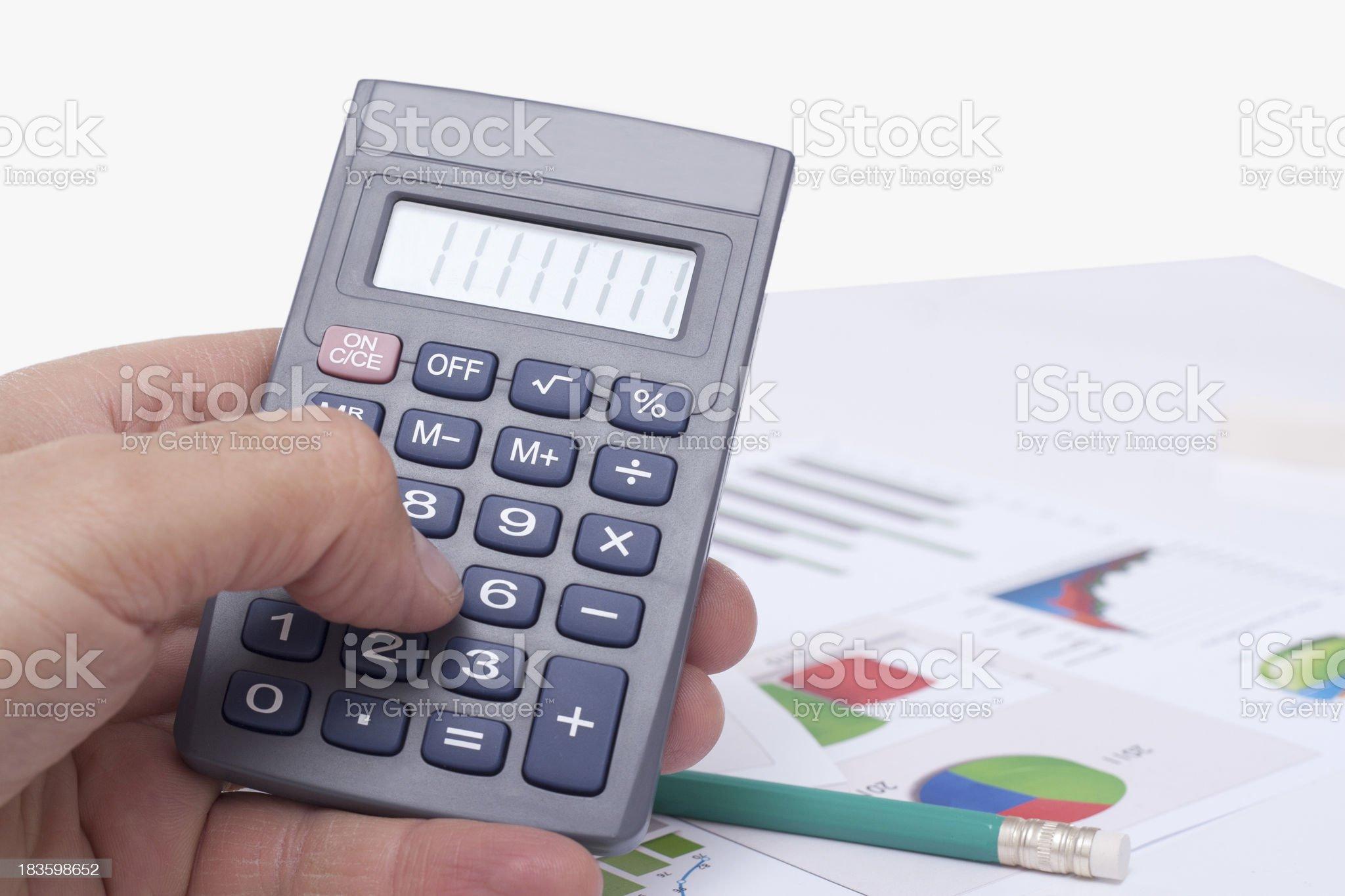 computing on the calculator royalty-free stock photo