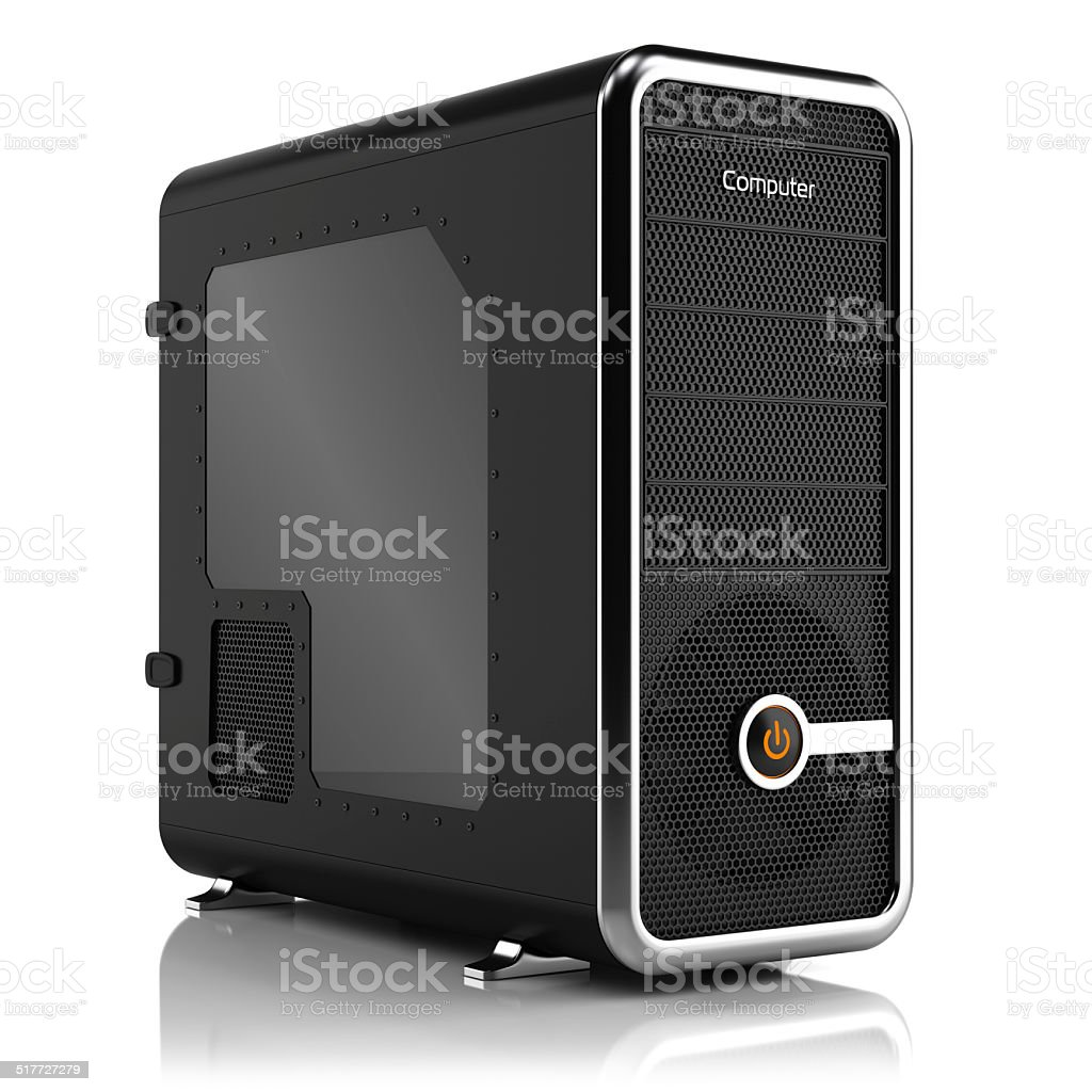 Computing tower box stock photo