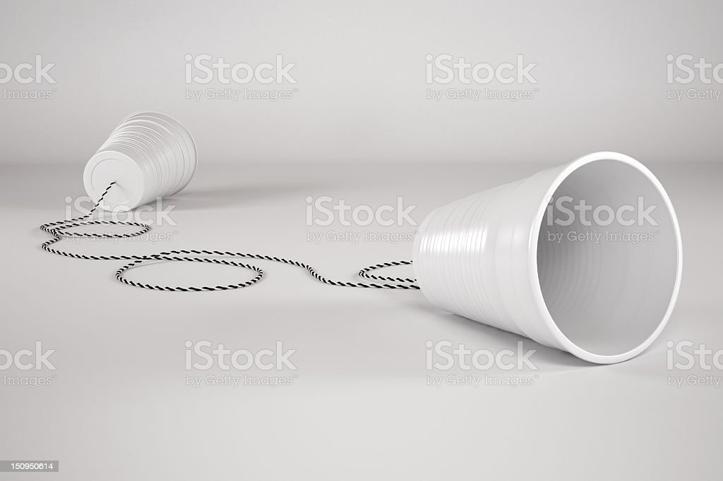 Comunication Plastic Glass with Cable royalty-free stock photo