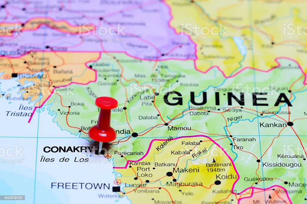Conakry pinned on a map of Africa stock photo