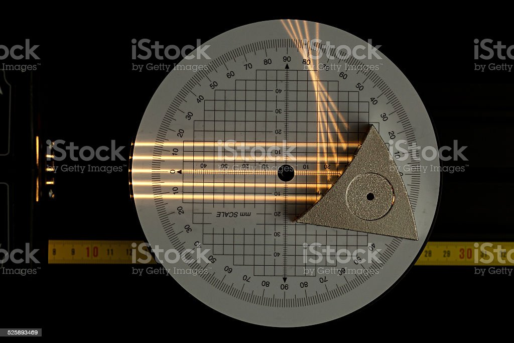 Concave mirror scientific experiment stock photo