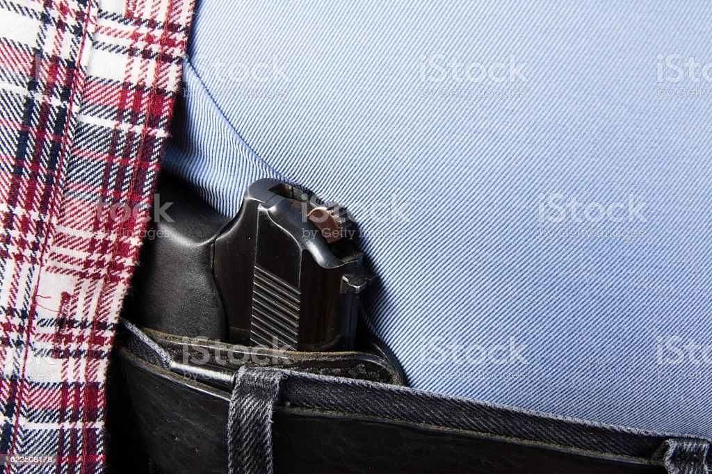 Concealed 9 mm Pistol stock photo