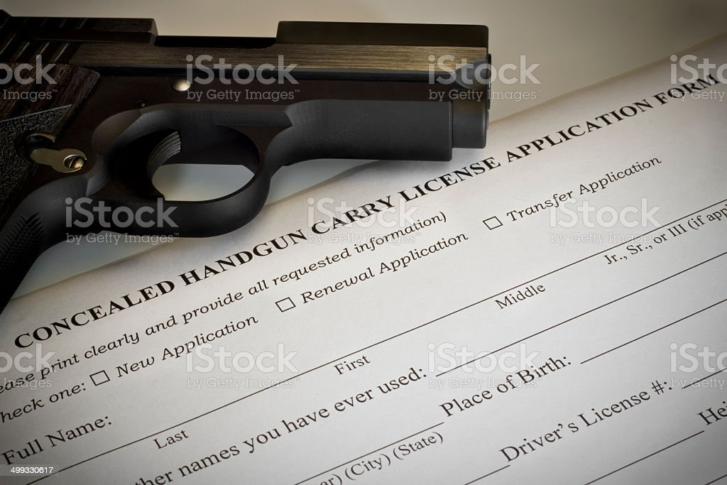Concealed Handgun Permit Application stock photo