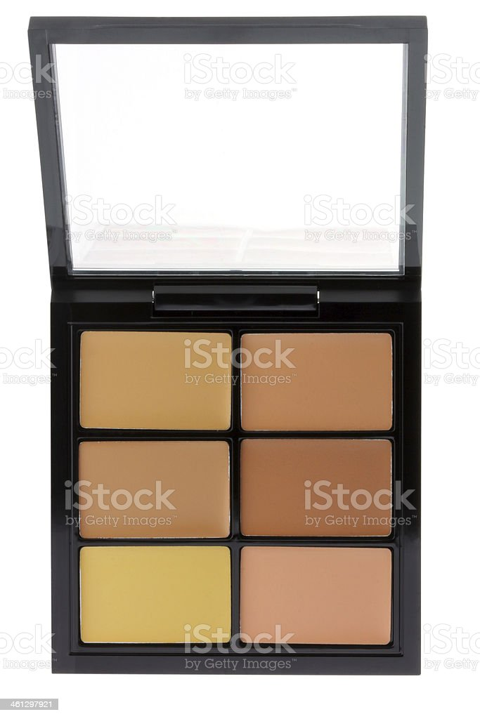 Concealer palette isolated on white stock photo