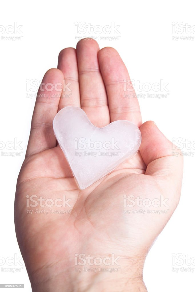 Concealing ice heart in hands royalty-free stock photo