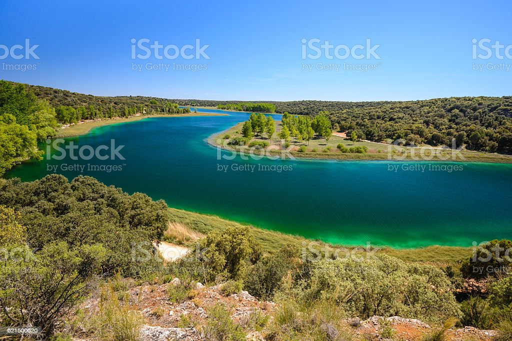 Conceja lagoon, Ruidera Natural Park, Castilla La Mancha (Spain) stock photo