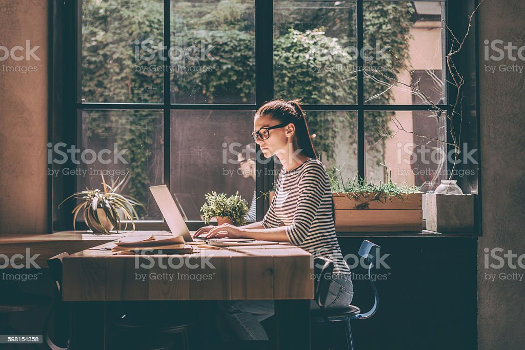 Concentrated at work. stock photo