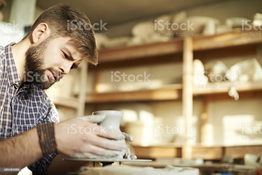 Concentrated craftsman stock photo