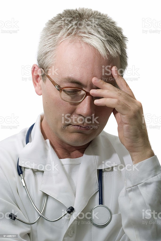 Concentrated doctor royalty-free stock photo