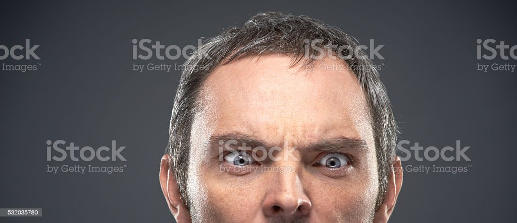 Concentrated glance stock photo