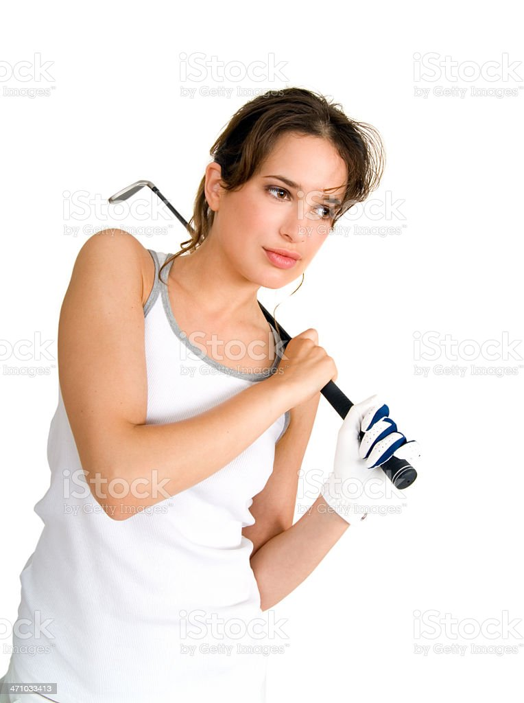 Concentrated Golfer stock photo