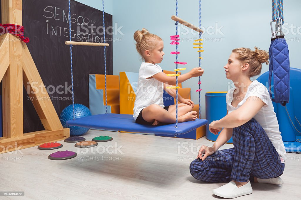 Concentrated on a task stock photo