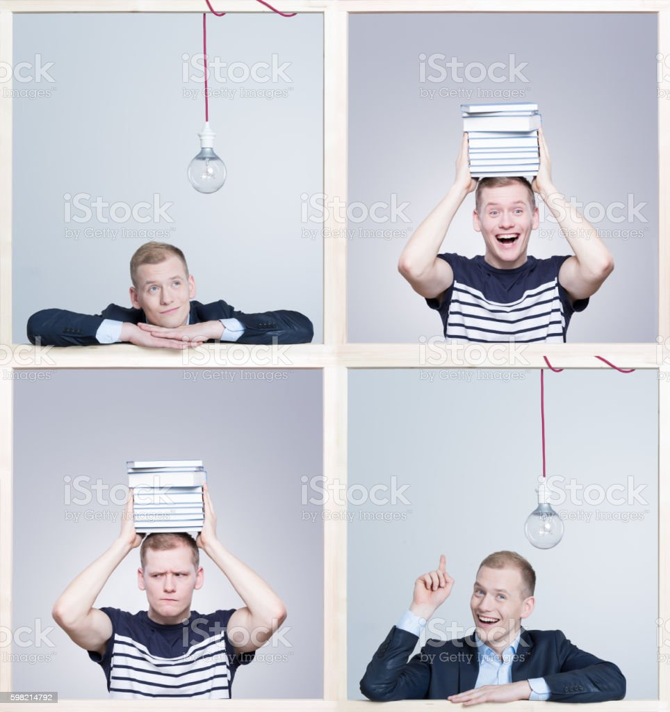 Concentrated on creating new invent stock photo