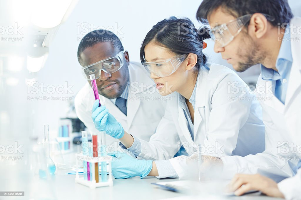 Concentrated scientist stock photo